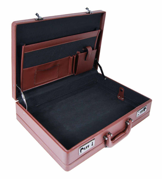 Leather expandable briefcase Brown RL40B inside view 2