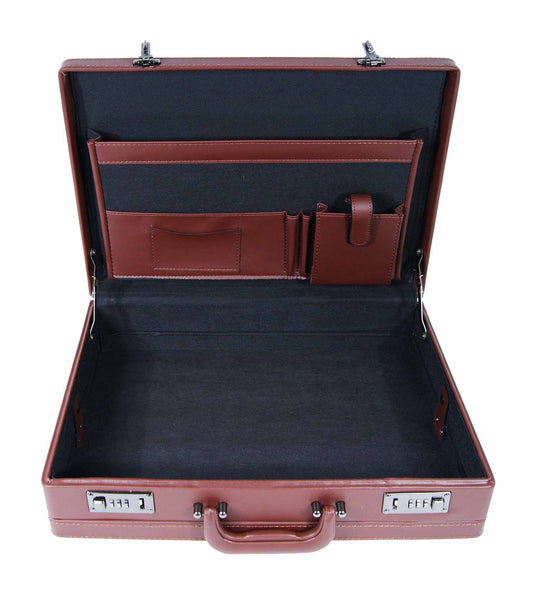 Leather expandable briefcase Brown RL40B inside view 3