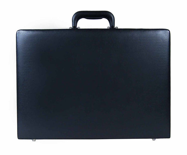 Leather expandable briefcase Black RL40K upright view