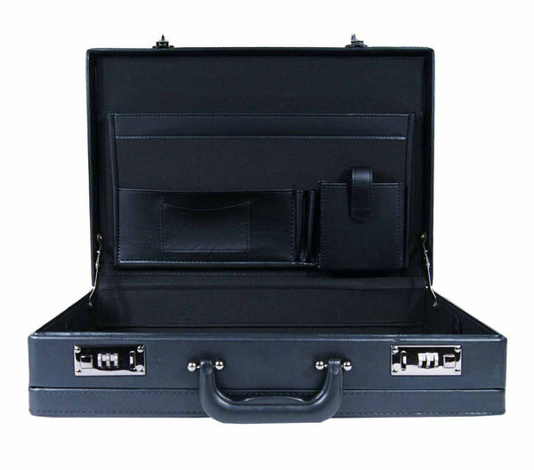 Leather expandable briefcase Black RL40K inside view