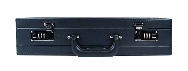 Leather expandable briefcase Black RL40K front view