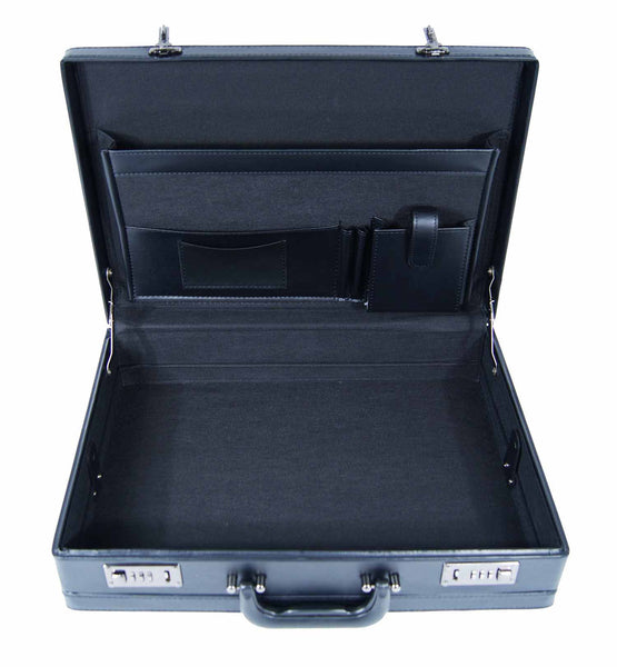 Leather expandable briefcase Black RL40K inside view 2