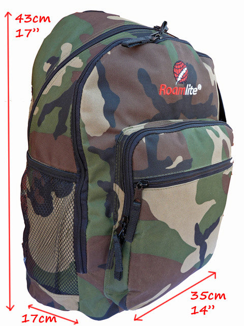 Boys Kids Childrens Camo School Backpack Rucksack Bag RL21C tech view