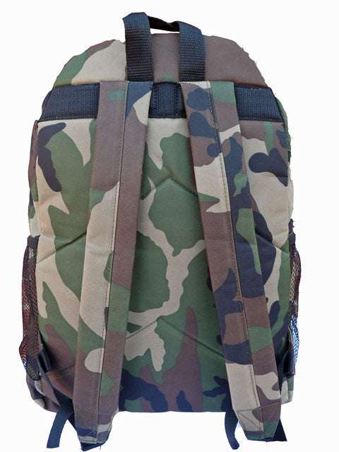 Boys Kids Childrens Camo School Backpack Rucksack Bag RL21C rear view