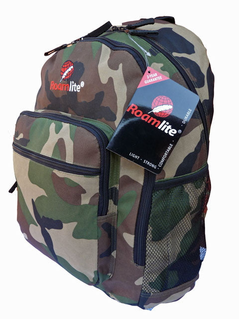 Boys Kids Childrens Camo School Backpack Rucksack Bag RL21C l side view