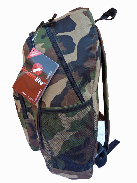 Boys Kids Childrens Camo School Backpack Rucksack Bag RL21C side side view