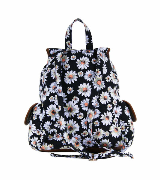 Daisy Floral Print Backpack Bag QL8151K rear view