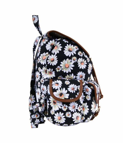 Daisy Floral Print Backpack Bag QL8151K side view