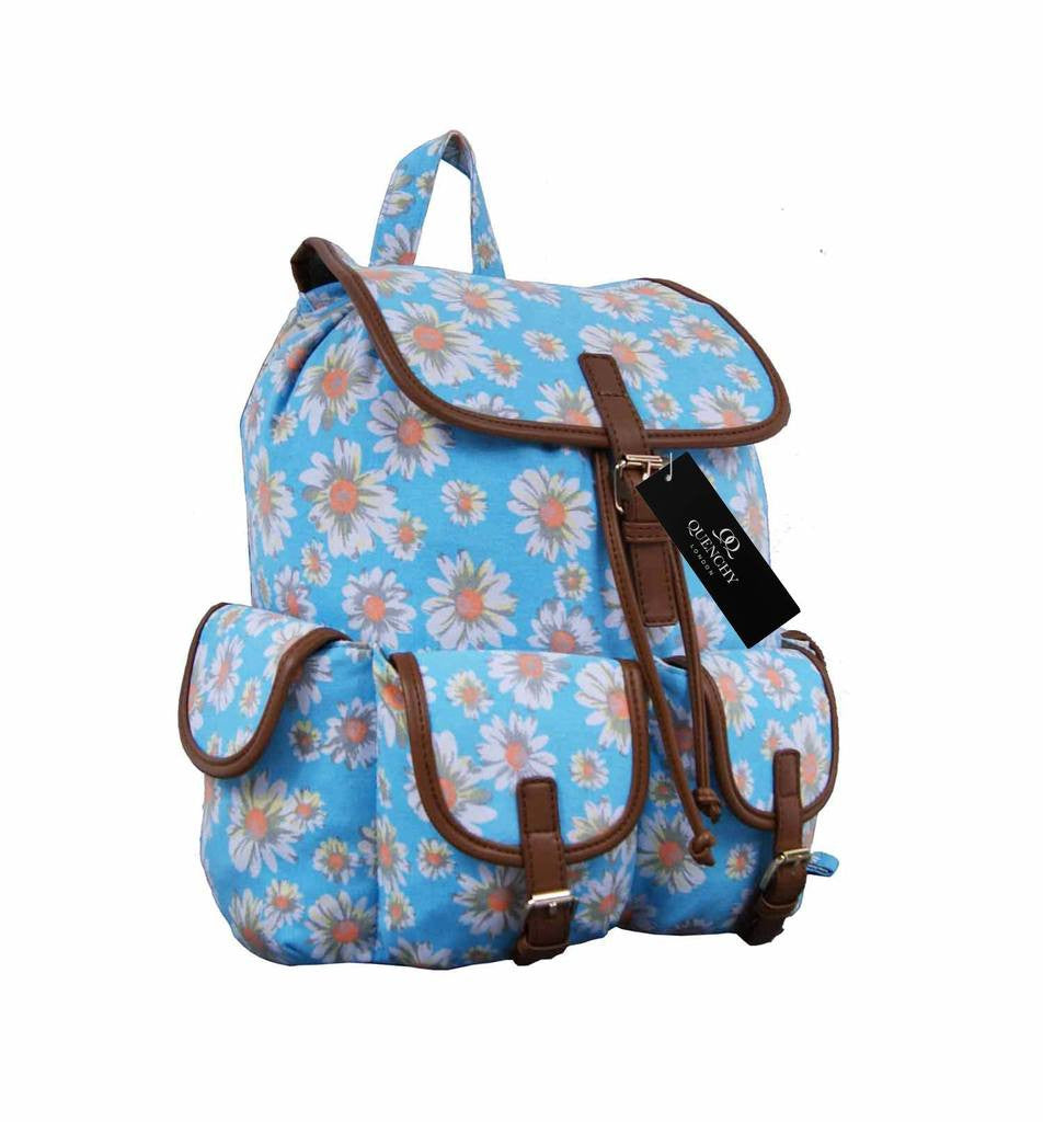 Canvas Backpack Rucksack Casual Daypack Daisy Floral Print Bag QL8151LB