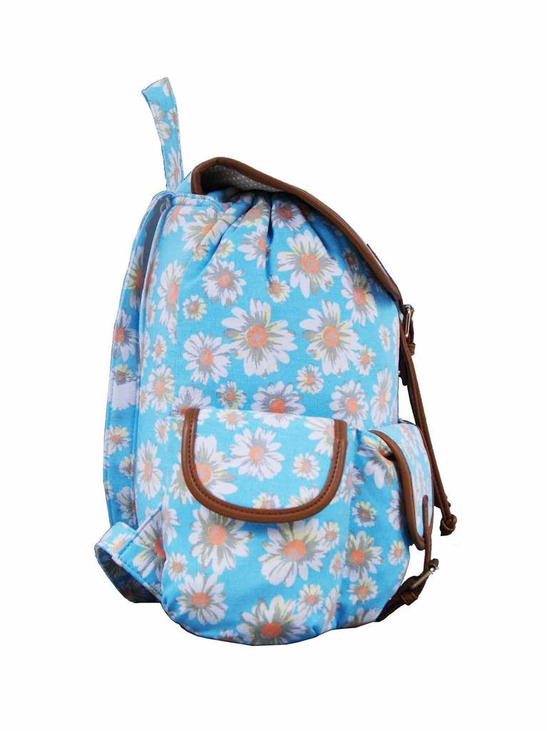 Daisy Floral Print Backpack Bag QL8151LB side view