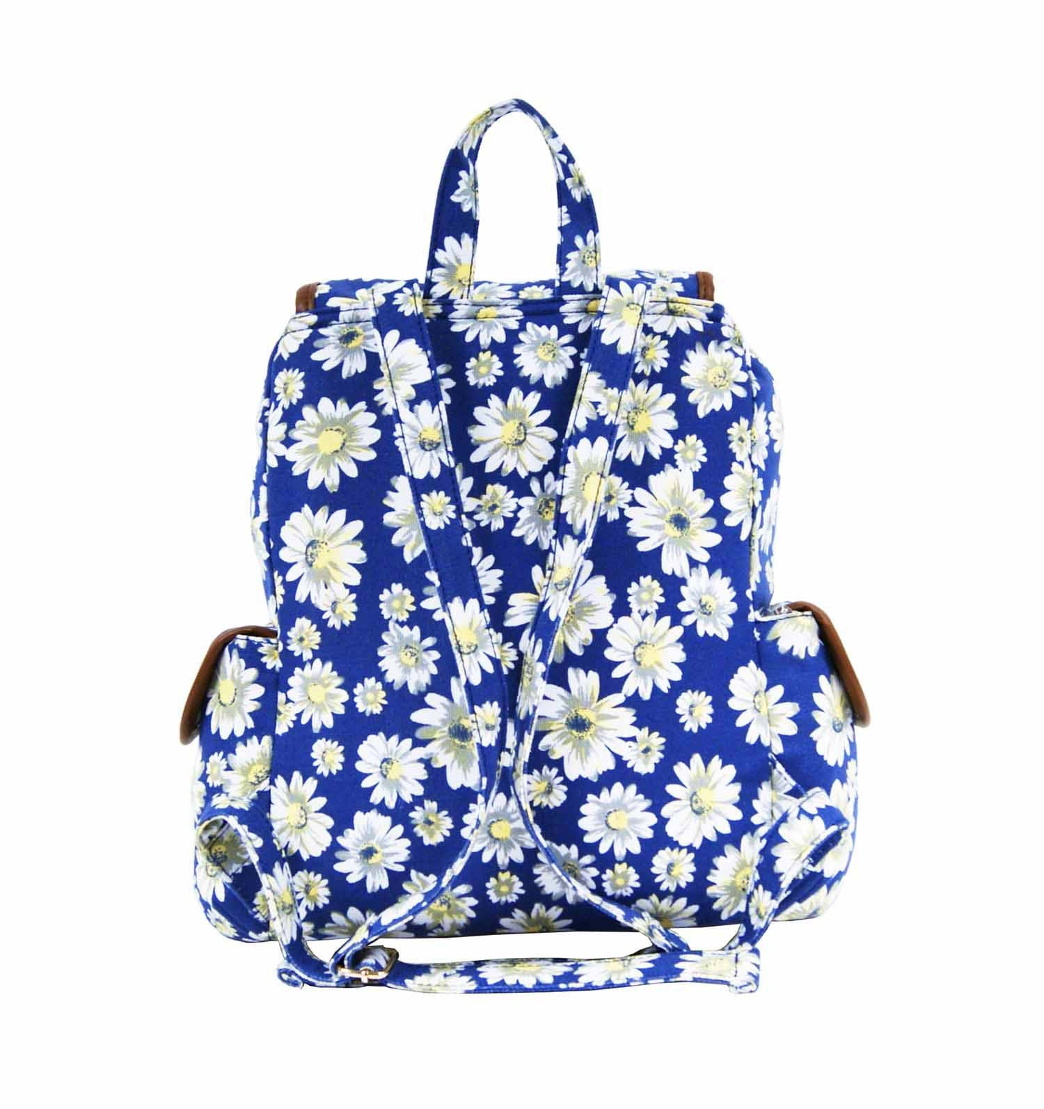 Daisy Floral Print Backpack Bag QL8151N rear view