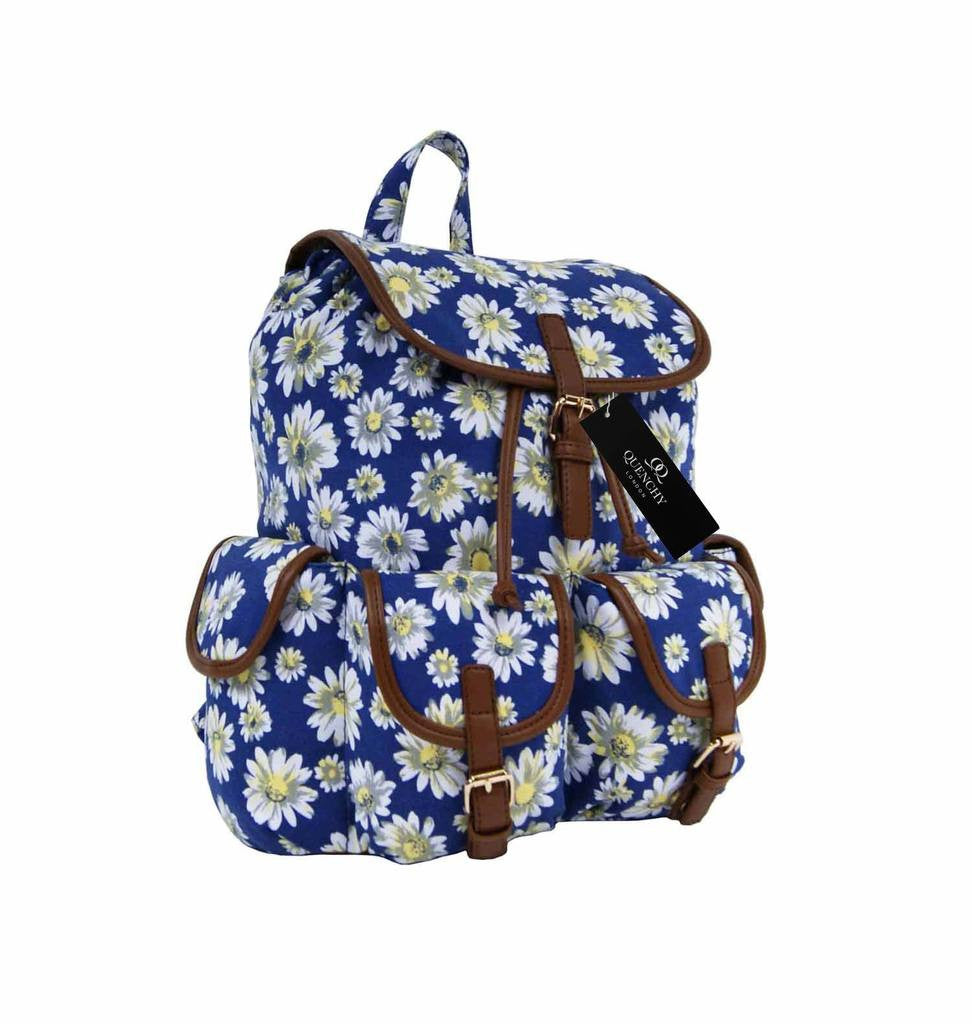 Canvas Backpack Rucksack Casual Daypack Daisy Floral Print Bag QL8151N