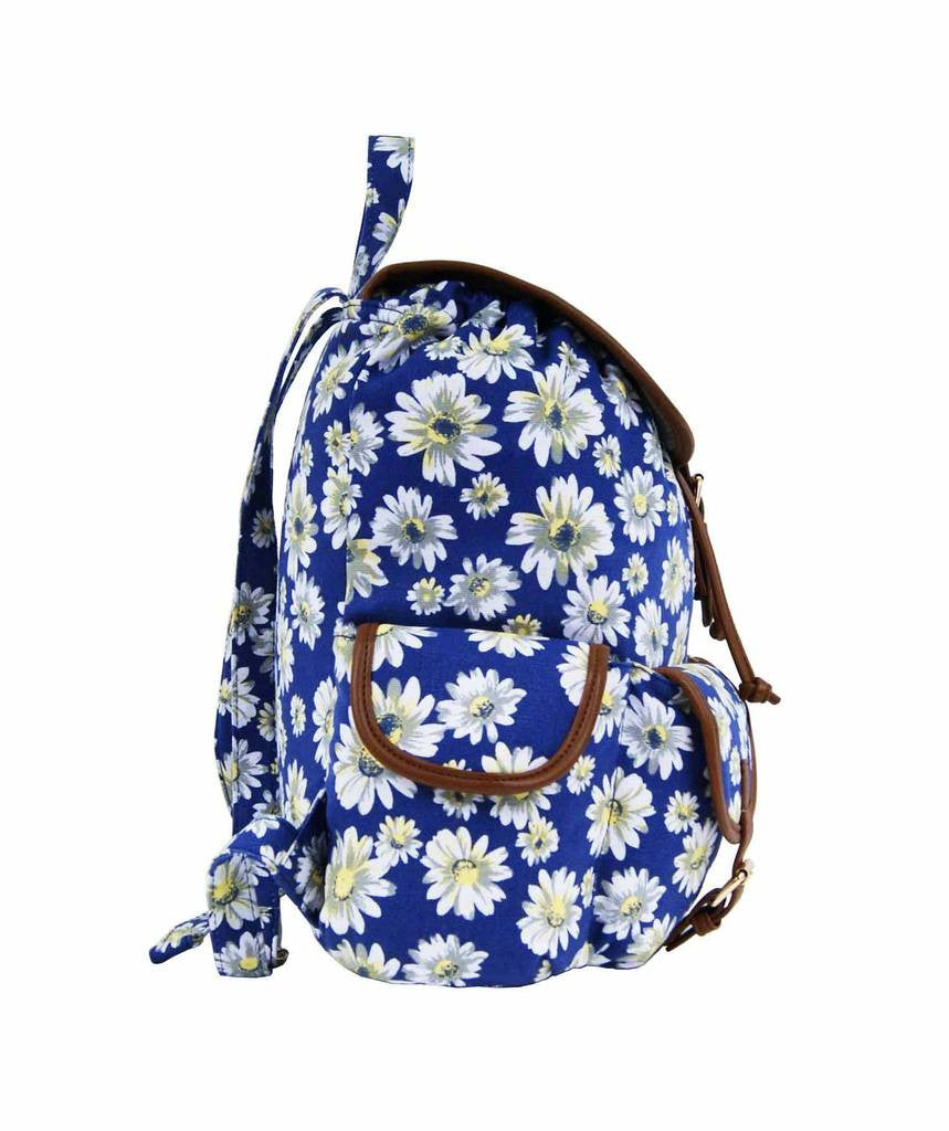 Daisy Floral Print Backpack Bag QL8151N side view