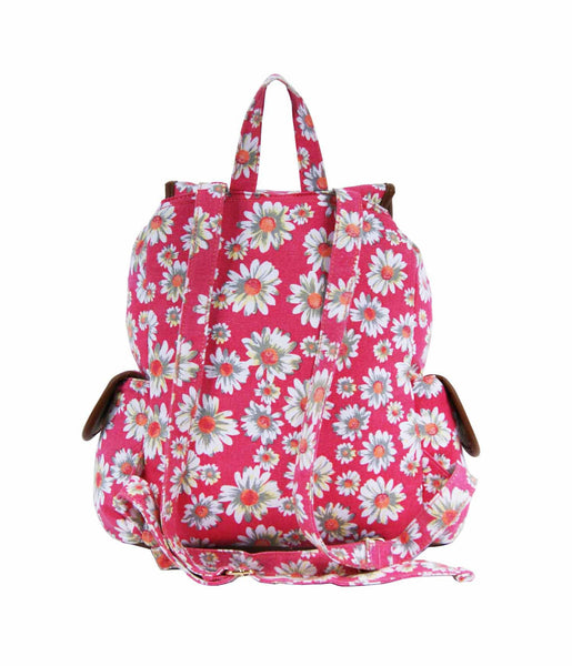 Daisy Floral Print Backpack Bag QL8151P rear view