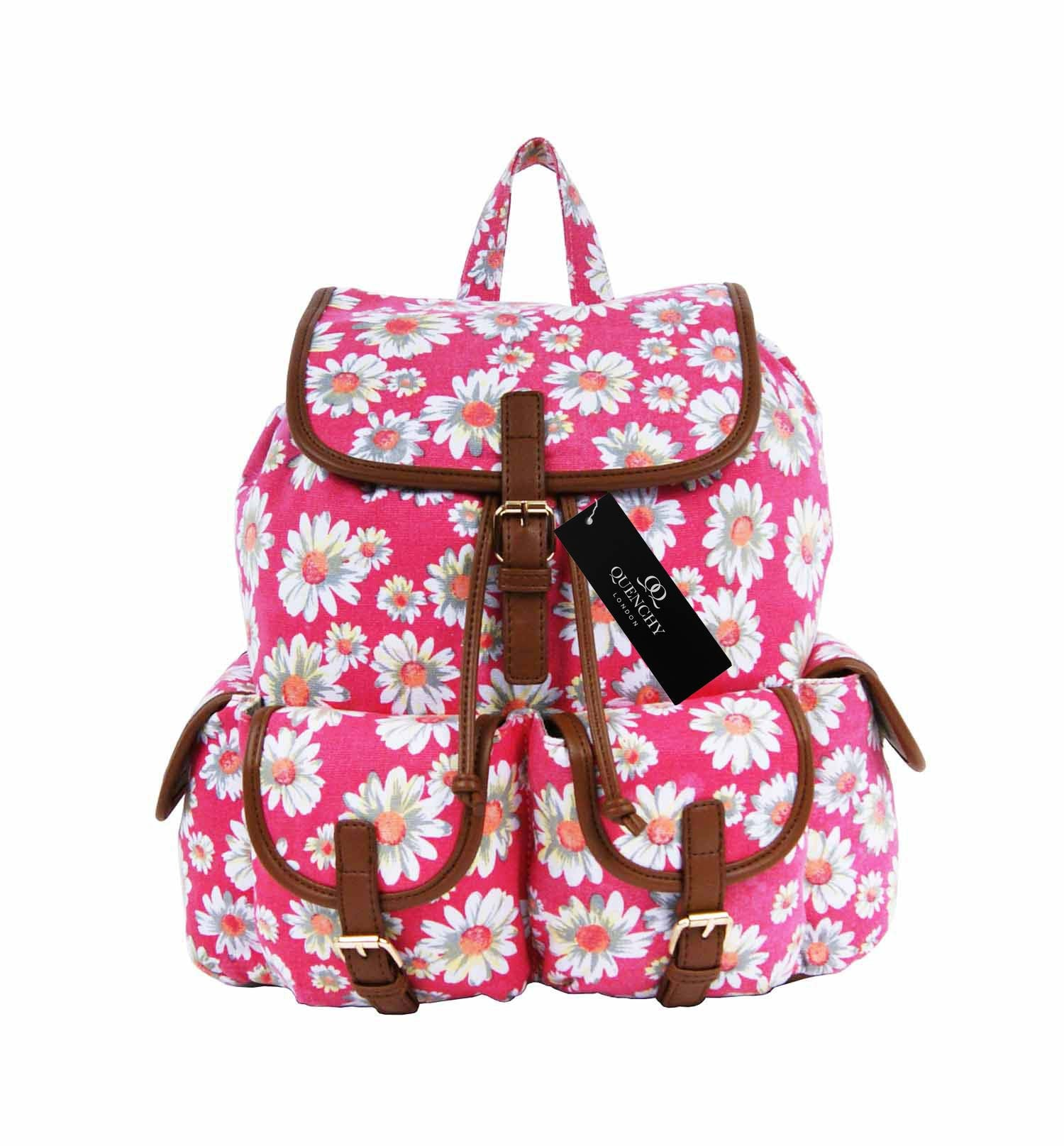 Daisy Floral Print Backpack Bag QL8151P front view