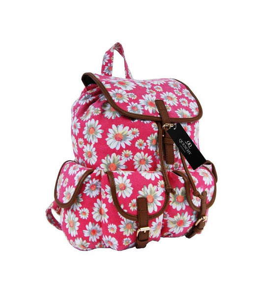 Canvas Backpack Rucksack Casual Daypack Daisy Floral Print Bag QL8151P