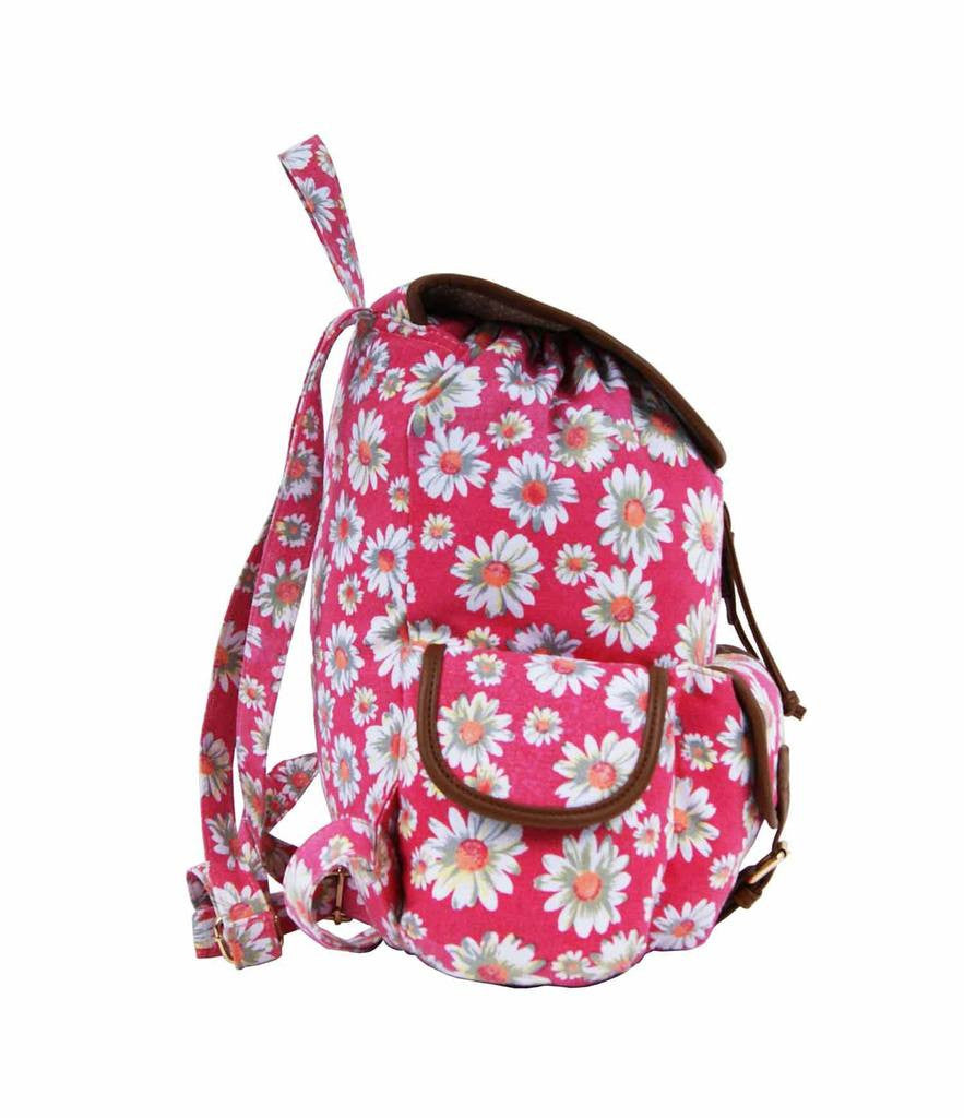 Daisy Floral Print Backpack Bag QL8151P side view