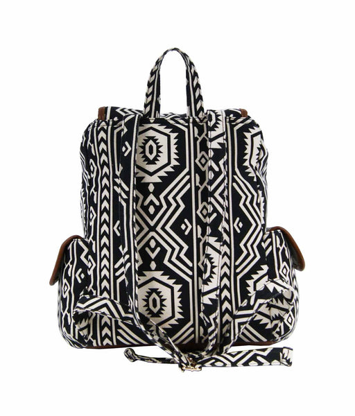 Aztec Tribal Print Backpacks Bag Bags QL154K rear view