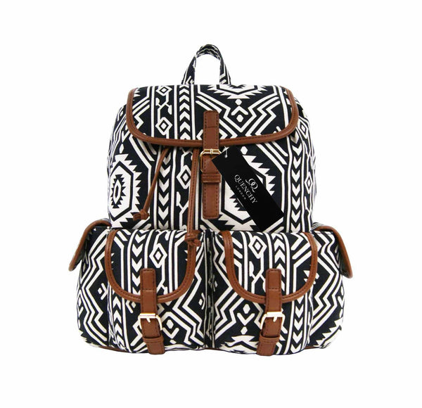 Aztec Tribal Print Backpacks Bag Bags QL154K front view