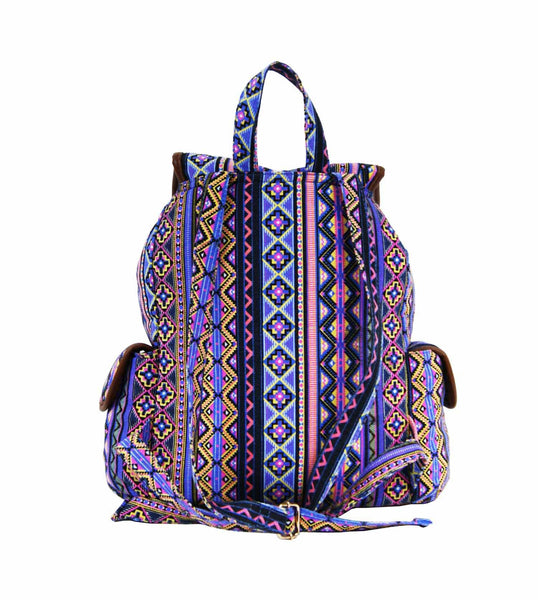 Aztec Tribal Print Backpacks Bag Bags QL154P rear view