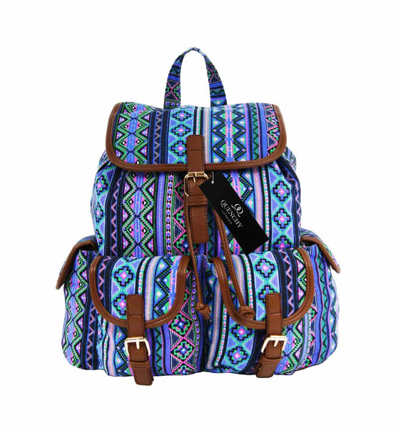 Aztec Tribal Print Backpacks Bag Bags QL154Pu front view