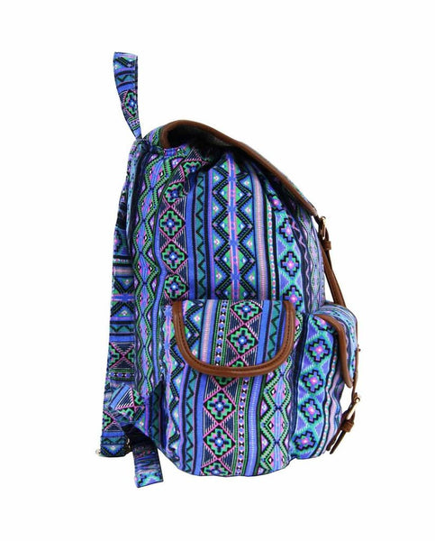 Aztec Tribal Print Backpacks Bag Bags QL154Pu side view