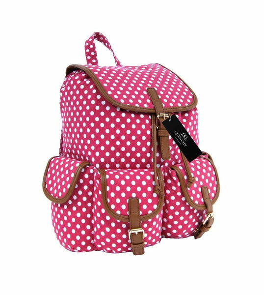 Canvas Backpack Rucksack Casual Daypack Polka Dot Print Backpacks Bag Bags QL152P