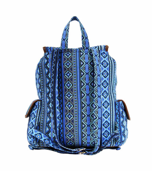 Aztec Tribal Print Backpacks Bag Bags QL154N rear view