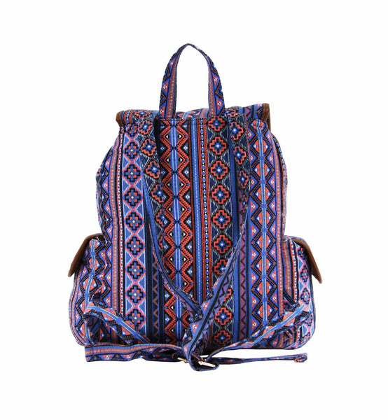 Aztec Tribal Print Backpacks Bag Bags QL154O rear view