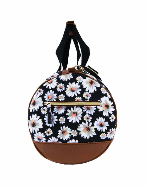 Canvas Travel Holdall Duffel Weekend Overnight Daisy Floral Print Bag QL651K black end view