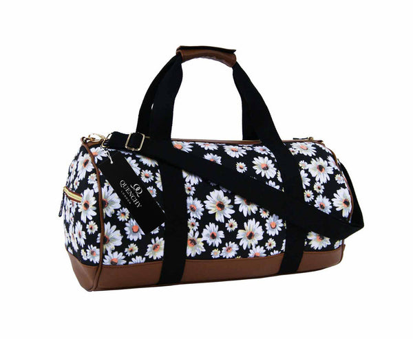 Canvas Travel Holdall Duffel Weekend Overnight Daisy Floral Print Bag QL651K black front view