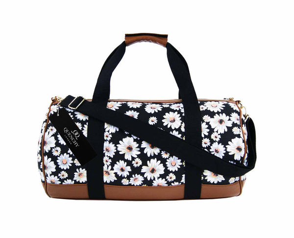 Canvas Travel Holdall Duffel Weekend Overnight Daisy Floral Print Bag QL651K black side view