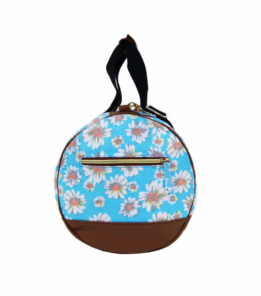 Canvas Travel Holdall Duffel Weekend Overnight Daisy Floral Print Bag QL651LB light blue end view