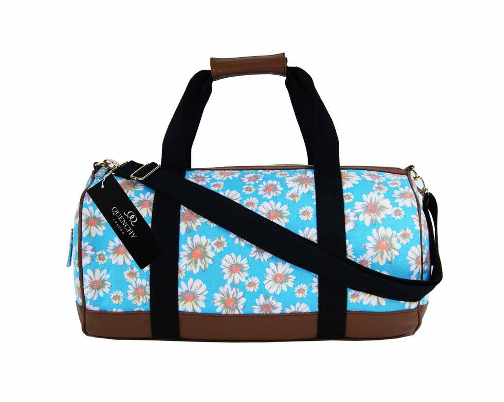 Canvas Travel Holdall Duffel Weekend Overnight Daisy Floral Print Bag QL651LB light blue side view