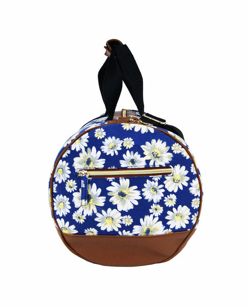 Canvas Travel Holdall Duffel Weekend Overnight Daisy Floral Print Bag QL651N navy end view
