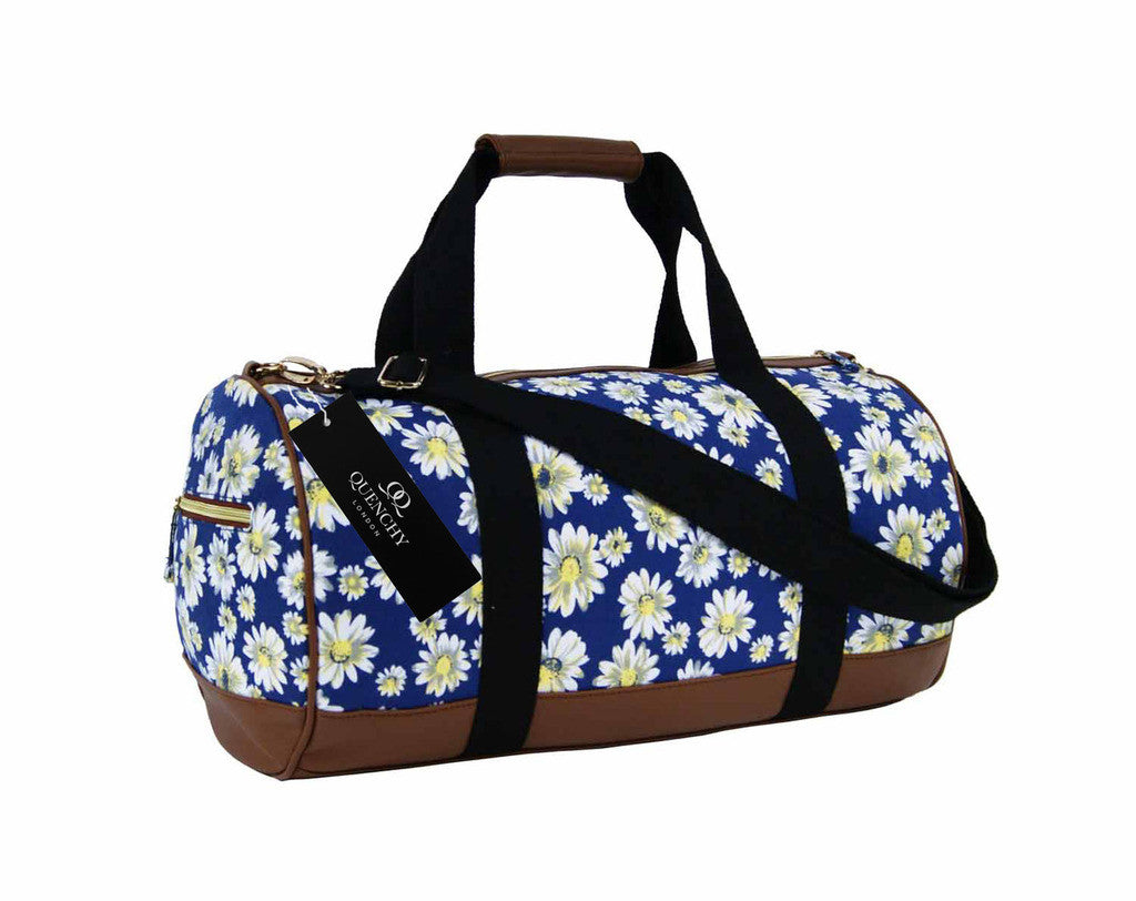 Canvas Travel Holdall Duffel Weekend Overnight Daisy Floral Print Bag QL651N navy front view