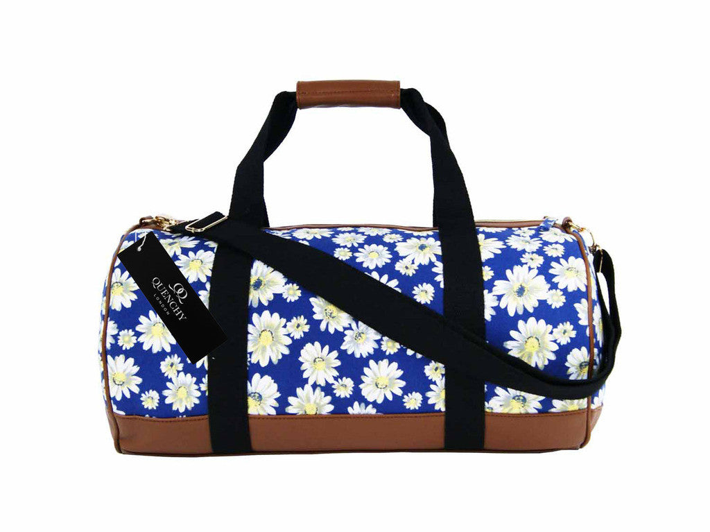 Canvas Travel Holdall Duffel Weekend Overnight Daisy Floral Print Bag QL651N navy side view