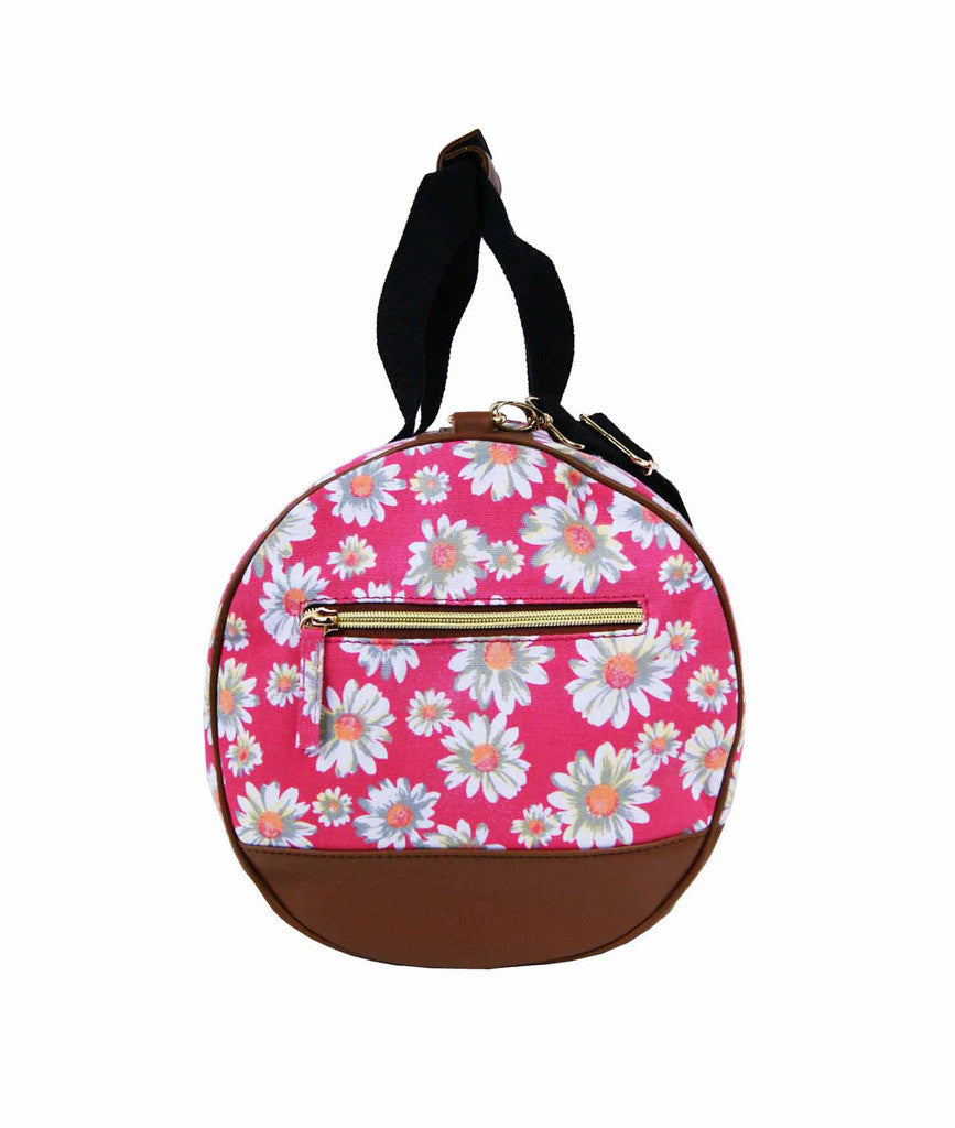 Canvas Travel Holdall Duffel Weekend Overnight Daisy Floral Print Bag QL651P pink end view