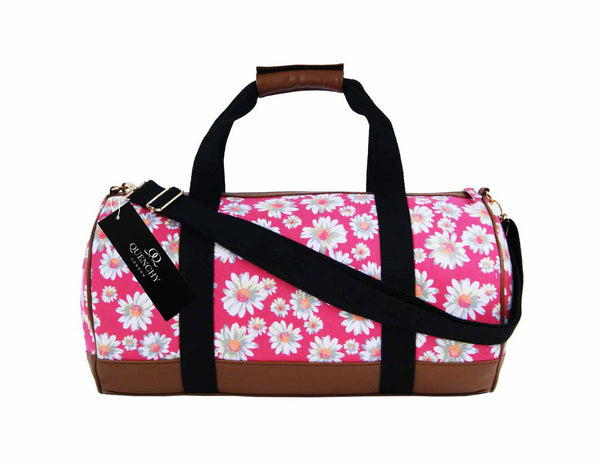 Canvas Travel Holdall Duffel Weekend Overnight Daisy Floral Print Bag QL651P Pink side view