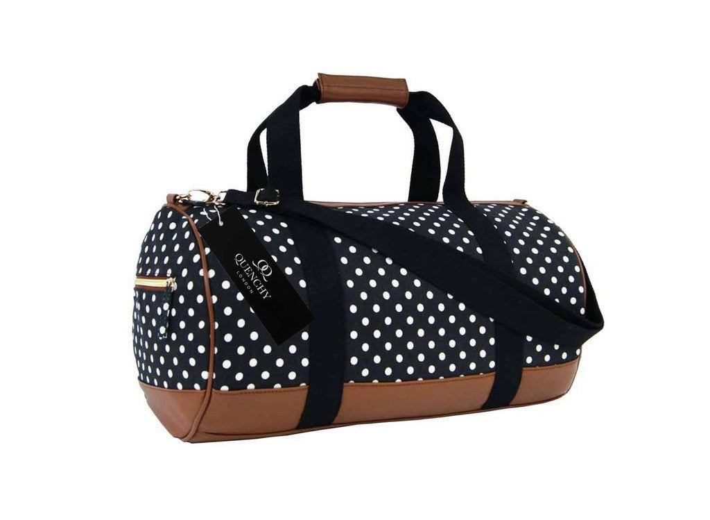 Travel Holdall Duffel Weekend Duffle PolkaDot Dots Print Bag QL652K side view