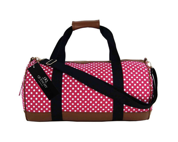 Travel Holdall Duffel Weekend Duffle PolkaDot Dots Print Bag QL652P Pink front view
