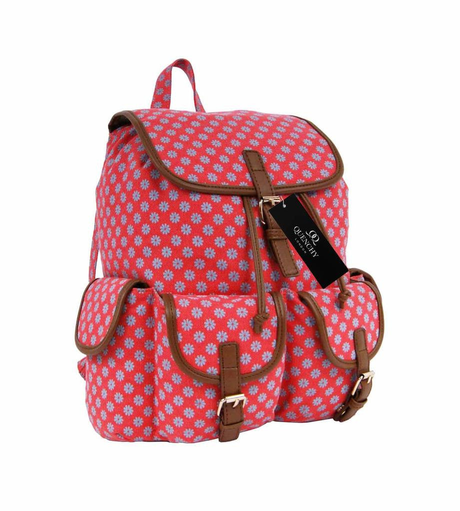 Canvas Backpack Rucksack Day Packs Wall Flower Print Backpacks Bag Bags QL155P