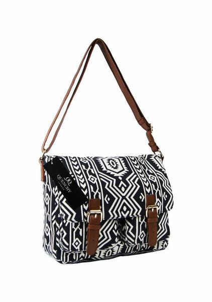 Festival Holiday Satchel in Black tribal aztec Print Q5154K