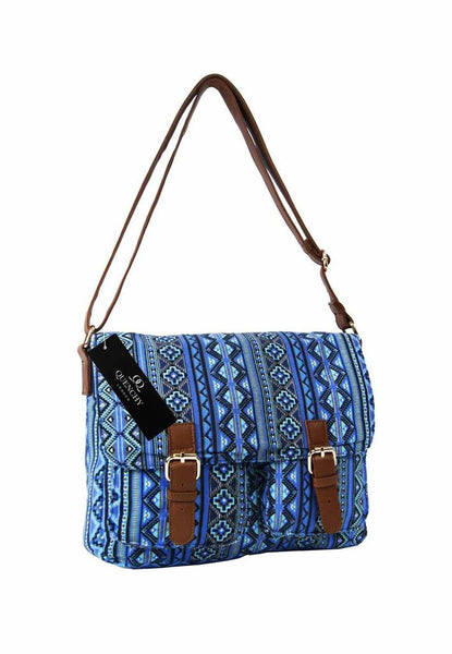 Festival Holiday Satchel in Blue tribal aztec Print Q5154N