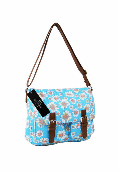 Festival Holiday Satchel in light blue daisy Print Q5151LB