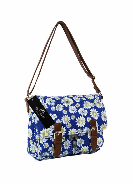 Festival Holiday Satchel in navy blue daisy Print Q5151N
