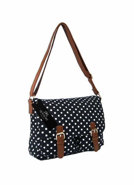 Festival Holiday Satchel in black polka dot Print Q5152K