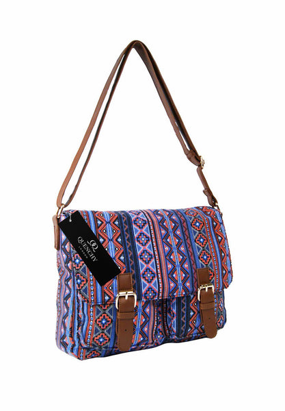 Festival Holiday Satchel in Orange tribal aztec Print Q5154O