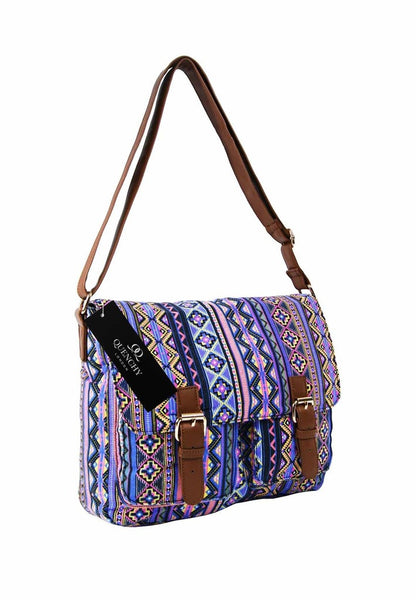 Festival Holiday Satchel in Pink tribal aztec Print Q5154P