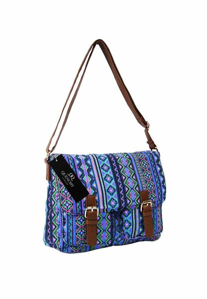 Festival Holiday Satchel in Purple tribal aztec Print Q5154Pu